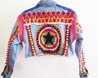 DIY, rainbow, handmade, mandala, punk, harajuku, vintage, denim jacket