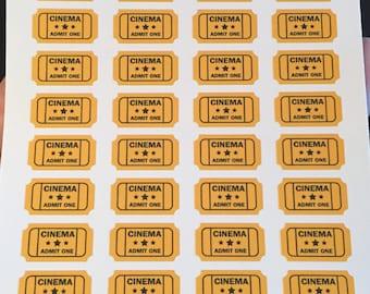 Movie Ticket Planner Stickers