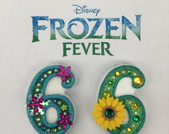 """Handcrafted """"Frozen Fever"""" or ANY Themed Birthday Candles- Decorated To Your Liking"""