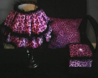 purple leopard lamp/pillow/misc box
