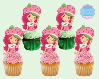 Strawberry Shortcake  Cupcake Toppers, Cupcake Picks INSTANT DOWNLOAD