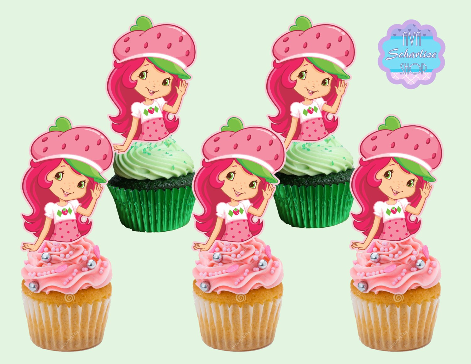 Strawberry Shortcake Cupcake Toppers Cupcake by AvaScharlizeShop