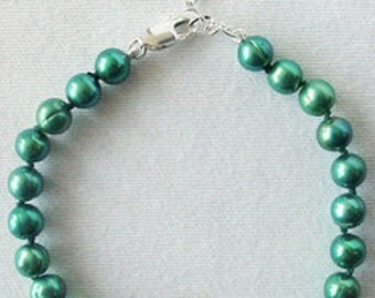 Rare GREEN PEARLS and Sterling Silver DISCO Bead Bracelet!!
