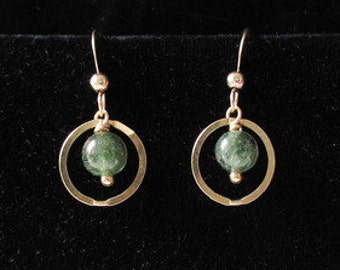 Rare! DEEP SEA Green APATITE 14Kgf Earrings 306818