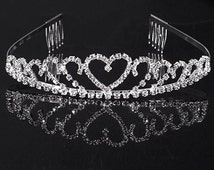 Beautiful tiara, FREE shipping, sparkle, rhinestones, flower girl tiara, wedding tiara, heart tiara, party tiara, birthday tiara, tiara