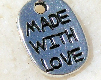 """Silver Tone Charm, """"Made with Love"""" 009"""