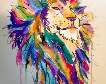 Colorful Lion's Head
