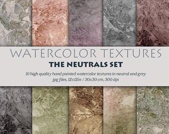 Digital watercolor, digital clipart, background textures, hand painted digital paper, watercolor textures set, grey paper textures, neutral