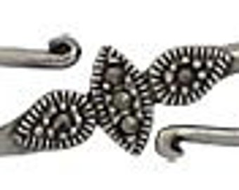 Handmade oxidized sterling silver  swiss cut marcasite clasp - 1pc.
