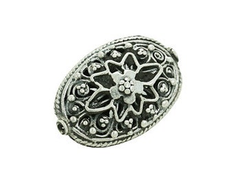 Handmade Oxidized Sterling Silver Bali Oval Filigree Beads - 1 pc.