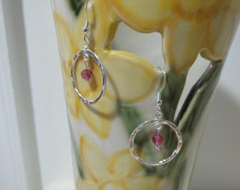 Pink Tourmaline Earrings On Sterling Silver Wires