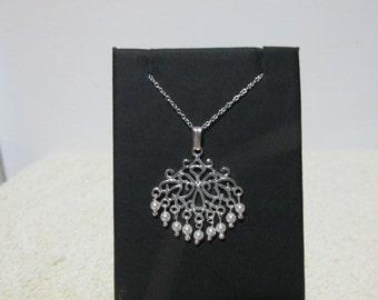 White Swarovski Pearl And Sterling Silver Pendant