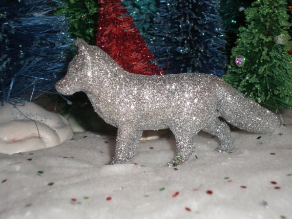 Miniature Silver Glittered Fox figurine
