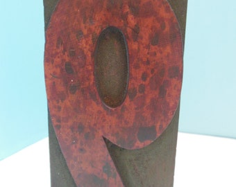 Wooden Type Letter - Number Nine 9