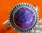 Purple copper Turquoise ring,925 Sterling Silver Ring,purple turquoise silver ring,purple ring,promise ring,turquoise ring,size US 3,4,5,6,7