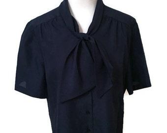 BLOw OUT SALE- Women's Vintage 1960's Tie Blouse in Navy Blue