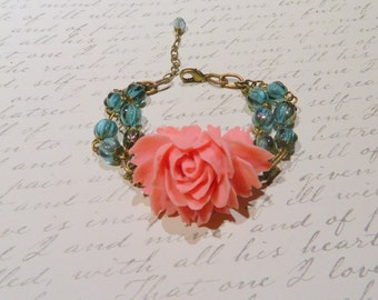 TealGlass,Beaded,Bracelet,Coral,Peach,Rose