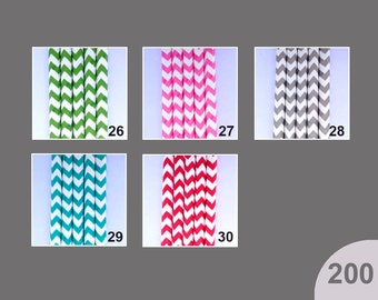 200 PAPER STRAWS - Pick Your Colors - Chevron - Wedding Birthday Baby Shower or BBQ Party