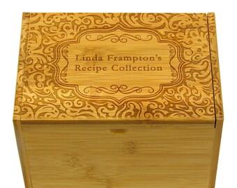 Personalized Recipe Box 4x6 Paisley Intricate Pattern