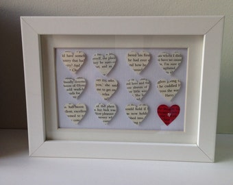 Framed book page hearts 13cm x 18cm