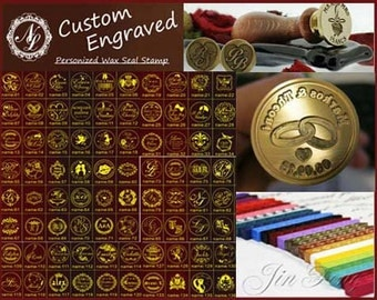 Name 55-108 Style Custom Engraved NAME & DATE Wedding Invitation Wax Seal Stamp +1 Wax Stick