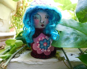 ooak peg doll, folk art, gnome, wood peg doll, art doll