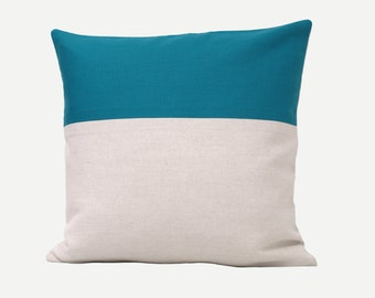 Turquoise Blue Natural Linen Pillow Cover