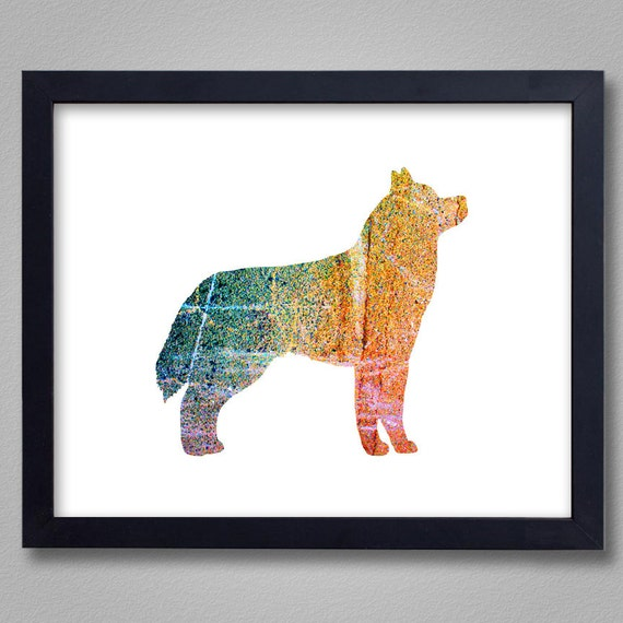 Siberian Husky Art Print - Proceeds to Shelters - Dog Wall Art - Abstract Digital Animal Painting