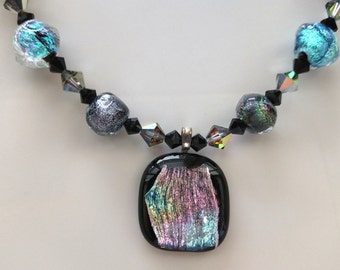 Swarovski Crystal, Dichroic Pendant, Necklace and Earring Set, One-of-a Kind