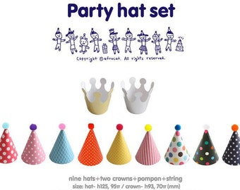 DIY Polkadot party hats, party hats, birthday hats, silver/gold crown party hats, baby shower, party printables (set of 11)