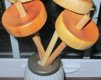 Lot of 4 Finished Maple Drop Spindle for Spinning Top or Bottom Whorl