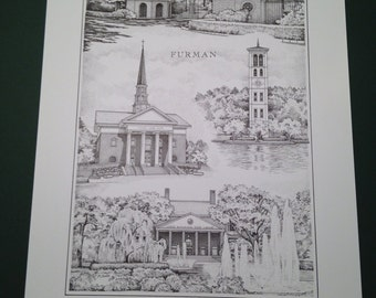 Furman University 12x16 Print (signed and numbered limited edition)