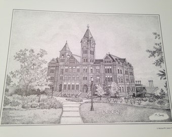 Auburn 11x14 print of Samford Hall