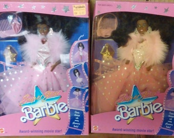 Reduced 1988 Vintage and Rare African American Super Star Barbie Collectible Two Available Individually