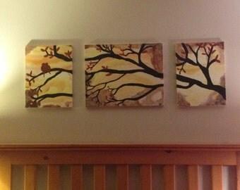 3 canvas love birds painting