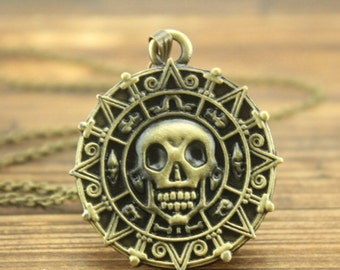 Aztec gold coin pendant necklace Pirates of the Caribbean jewelry men birthday gift Christmas jewelry C141N_B