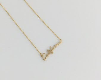 California State Shinny Yellow Gold Necklace