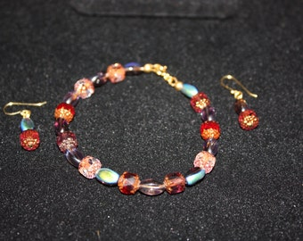 Purples and Pinks Bracelet and Earrings