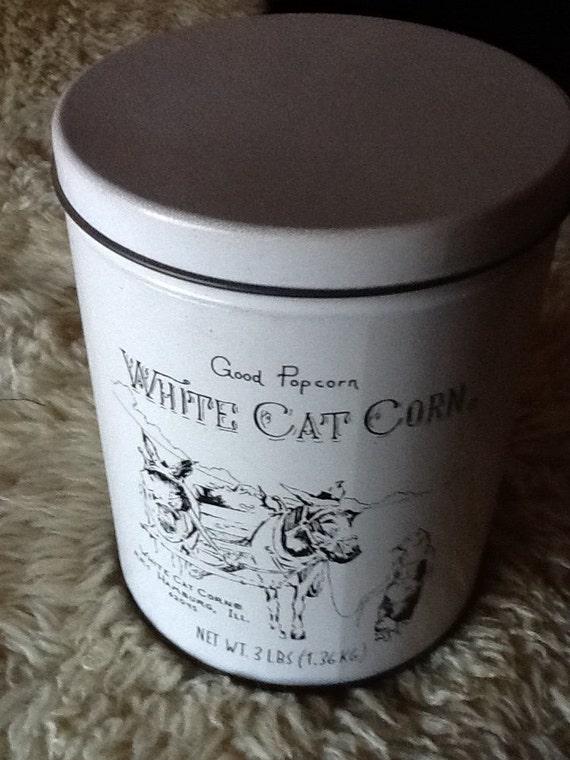 White Cat Corn Popcorn Vintage Tin