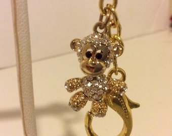 Gold colored pave adorable monkey keychain