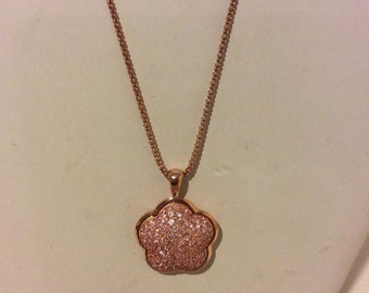 Gorgeous chunky rose gold coated on sterling silver pave flower pendant necklace