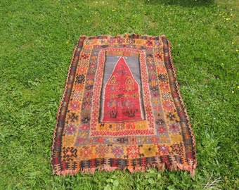 1890's antique Turkish kilim rug wool tapestry