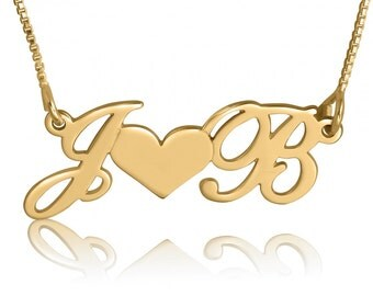 Love Necklace - Initial Necklace Gold Initial Necklace Couples Necklace Heart Pendant Name Two Initials necklace 5th anniversary gift