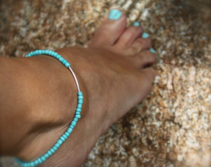 Valentine Gift Turquoise Anklet Beaded Stretch Ankle Bracelet Boho Beach Jewelry Ocean Inspired Stack Bracelet Gift Woman Man under 20