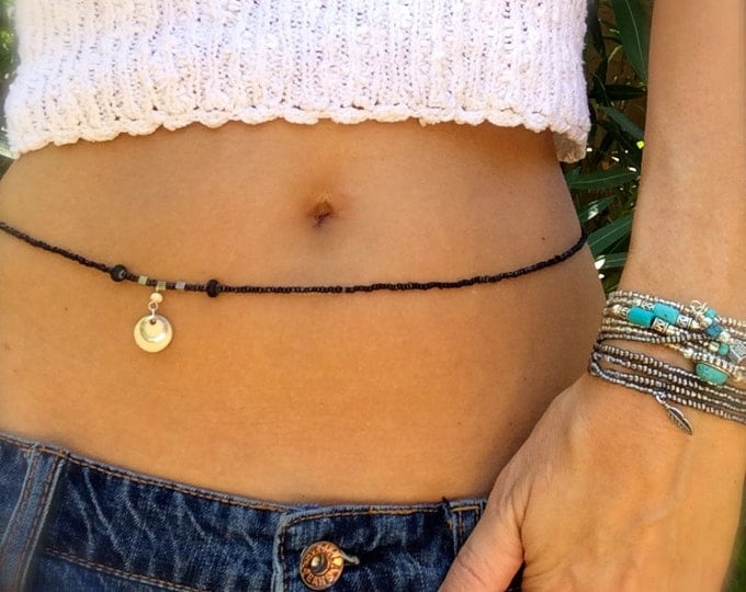 Black Waist Beads Silver Beaded Belly Chain Stretch Waist Beads Convertible Bracelet Anklet Necklace Choker Arm Band Boho Beach Body Jewelry