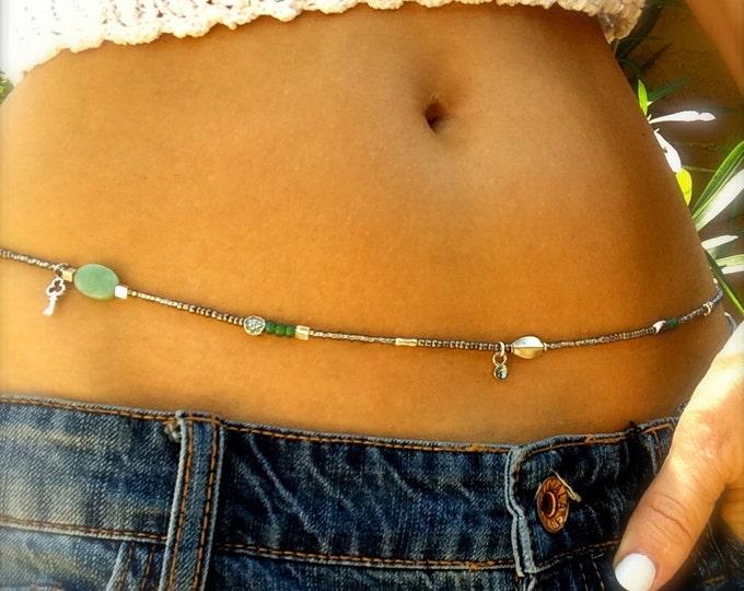 Waist Beads Silver Green Beaded Belly Chain Stretch Waist Beads Boho Bikini Jewelry Body Jewelry Bracelet Anklet Necklace Gifts for Her Yoga