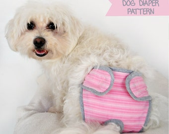 Dog Diaper Pattern size M, Sewing Pattern, Dog Clothes Pattern