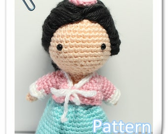 Crochet Amigurumi Cutie Korean Girl Doll Traditional Hanbok PDF Pattern Stuffed Toy