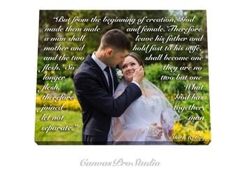 Picture with Wedding Vows, Gift,  Wedding Canvas, Wedding Vows, Wedding Registry, Anniversary, Engagement Gift, Love Poem, Mark 10:6-9
