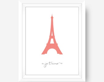 Paris Eiffel Tower,  Je T'aime I Love You French Quote, Paris Wall Decor, Paris Theme Home Decor, Office Wall Art, Love Wall Art Print